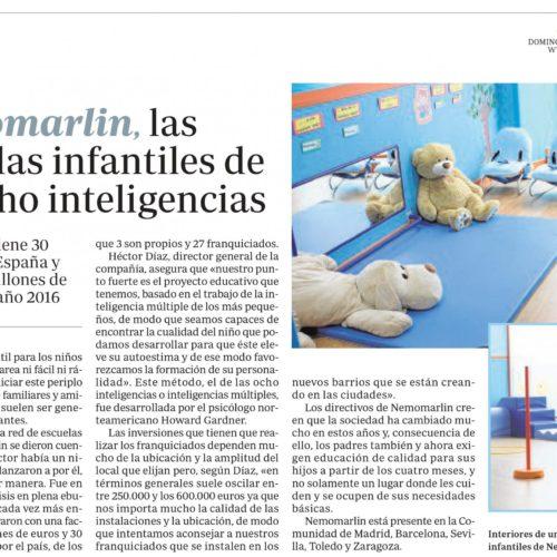 Aparición prensa escuelas Nemomarlin en periódico ABC
