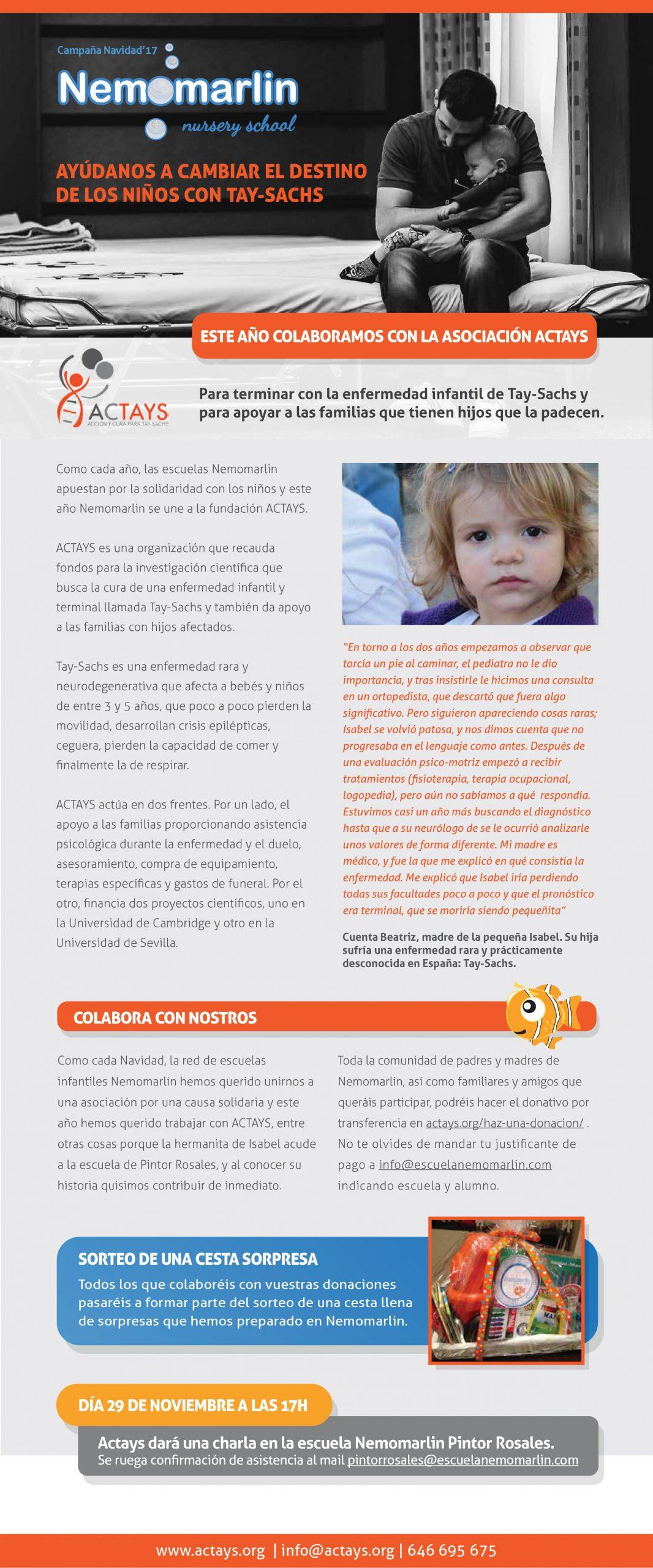 Colaboración escuelas Nemomarlin con asociación ACTAYS