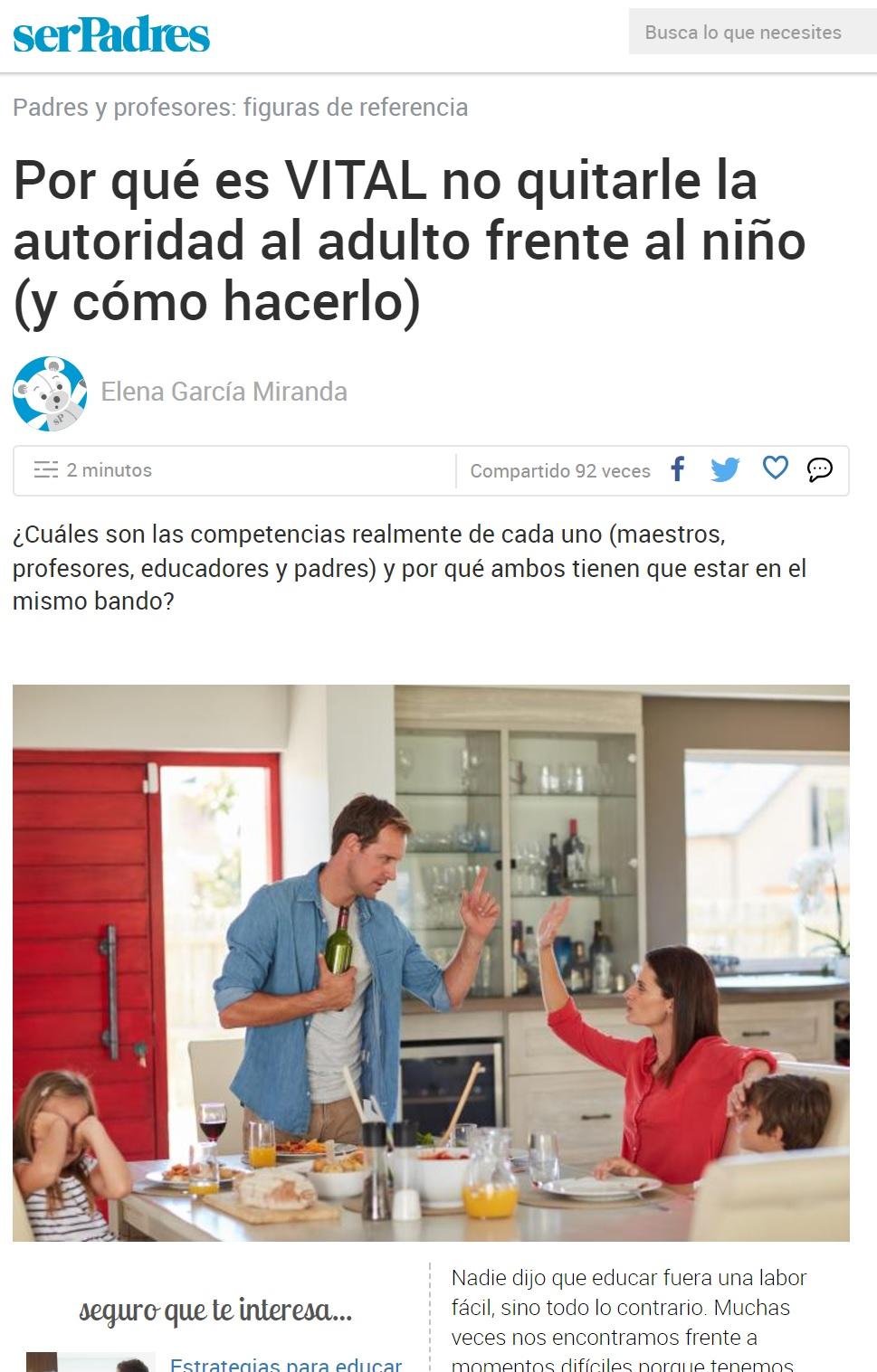 Artículo Ser Padres directora Escuela Infantil Nemomarlin Sanchinarro