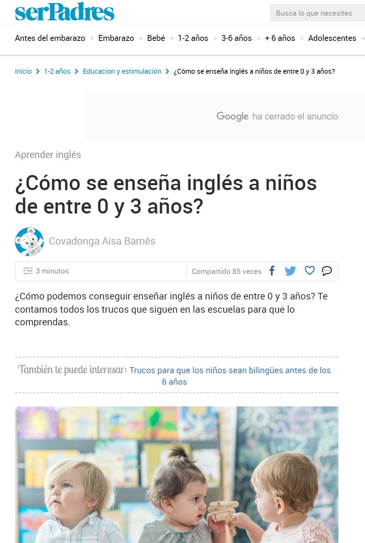 Aparición prensa escuela Nemomarlin -Cómo se enseña inglés a los niños de 0 a 3 años