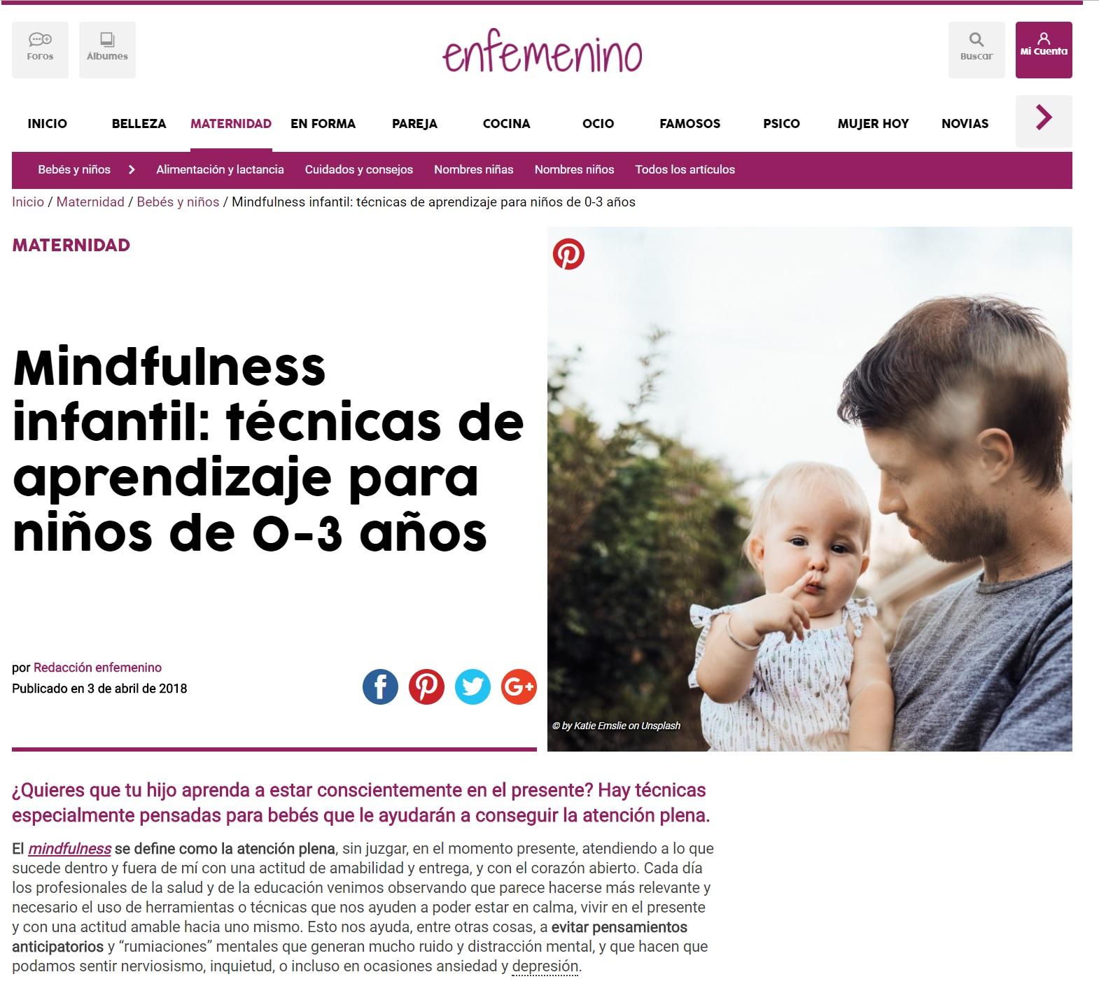 Mindfulness infantil tecnicas, artículo escuela infantil nemomarlin Majadahonda