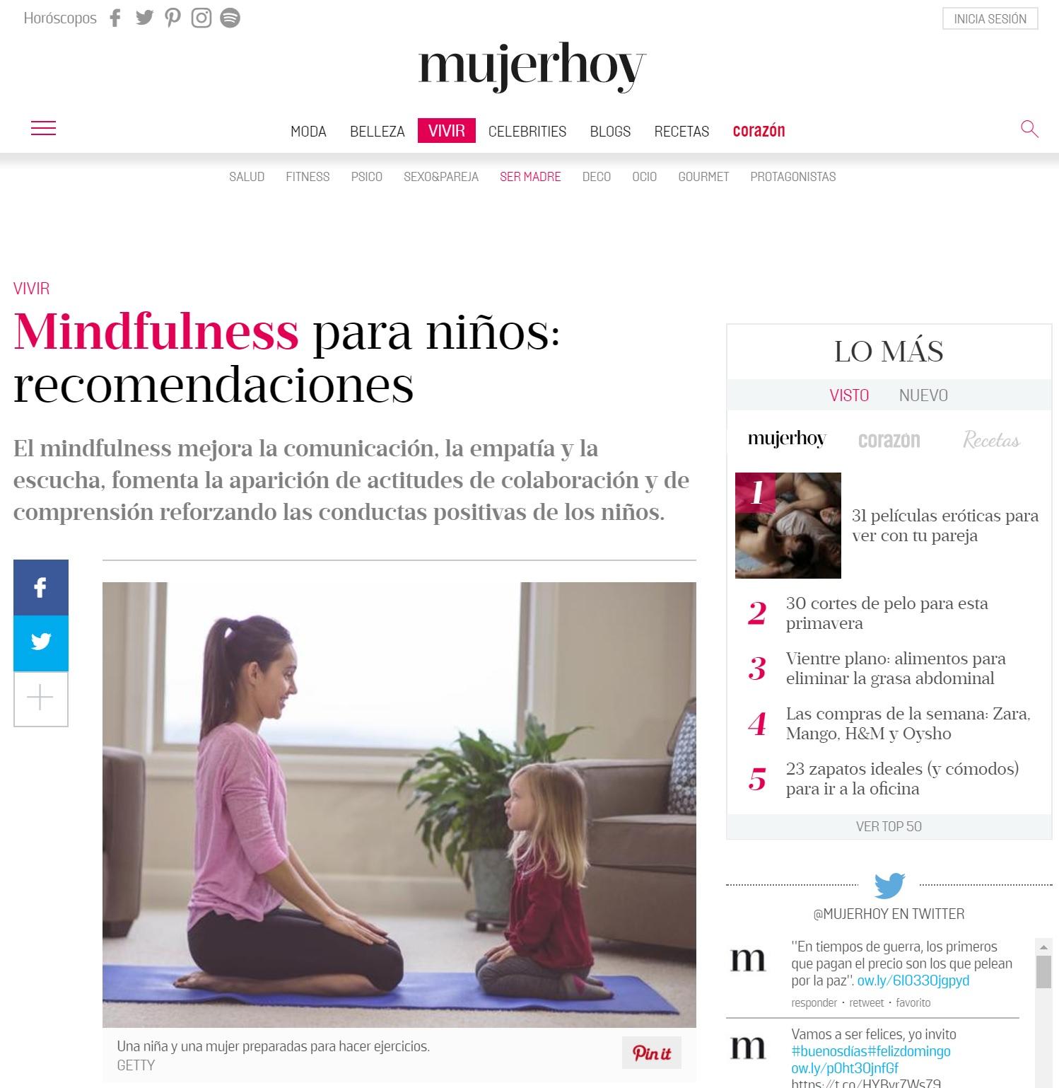 Portada prensa mujer hoy mindfulness Ana Asensio, directora escuela infnatil Majadahonda