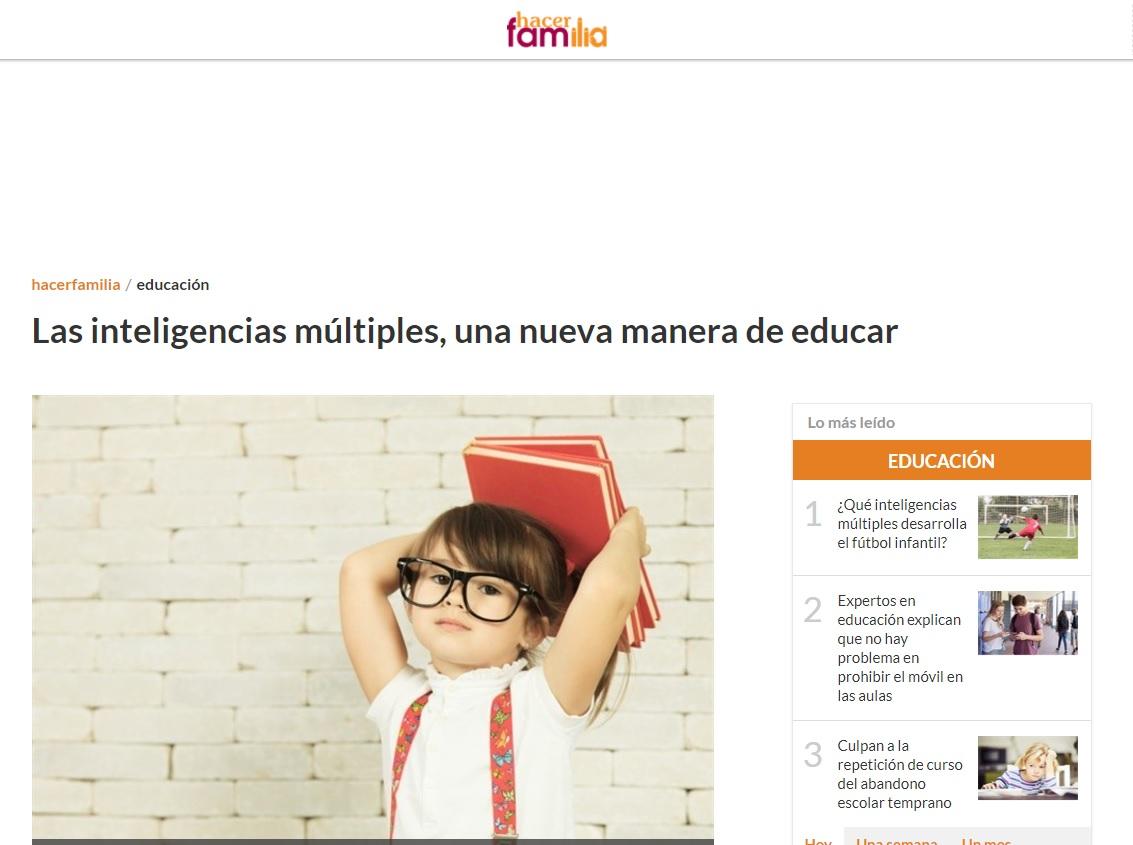 Artículo Nemomarlin Escuelas Infantiles en hacerfamilia - inteligencias múltiples