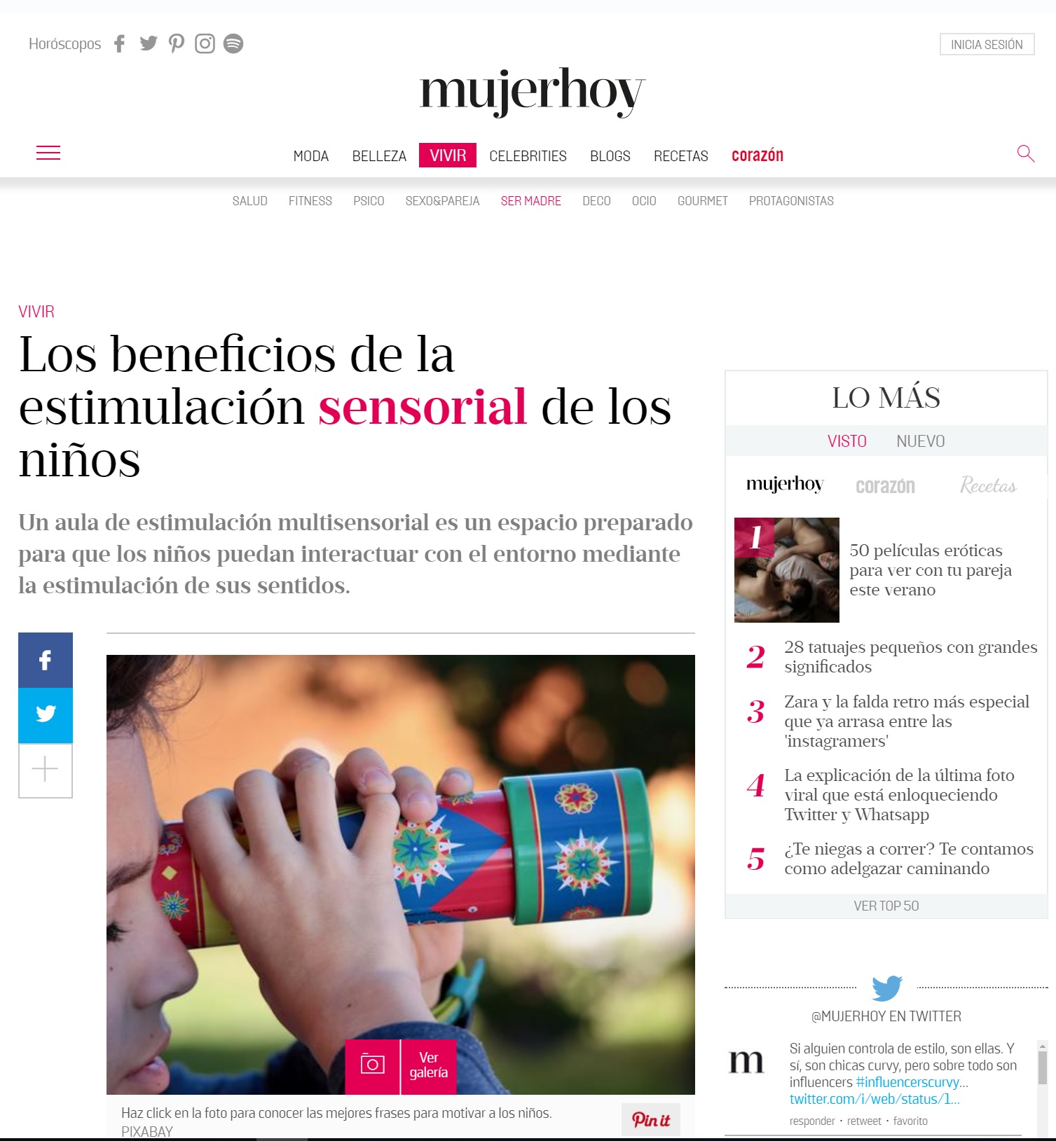 Aparición prensa Nemomarlin Escuelas Infantiles en Mujer Hoy Estimulación sensorial