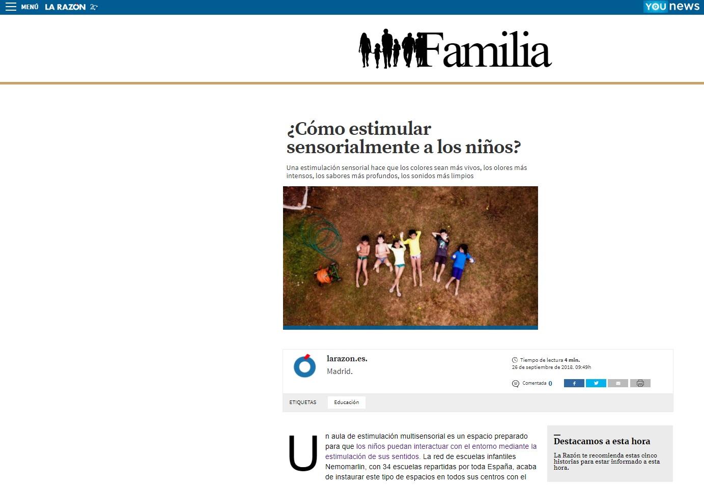 Estimular sensorialmente a los niños - Noticia Nemomarlin Escuelas Infantiles en la Razón Familia