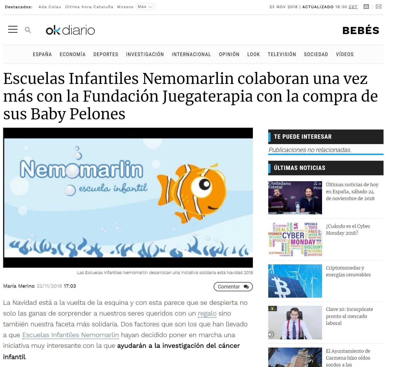 Portada noticia Nemomarlin colaboración con Juegaterapia Baby Pelones en Ok Diario