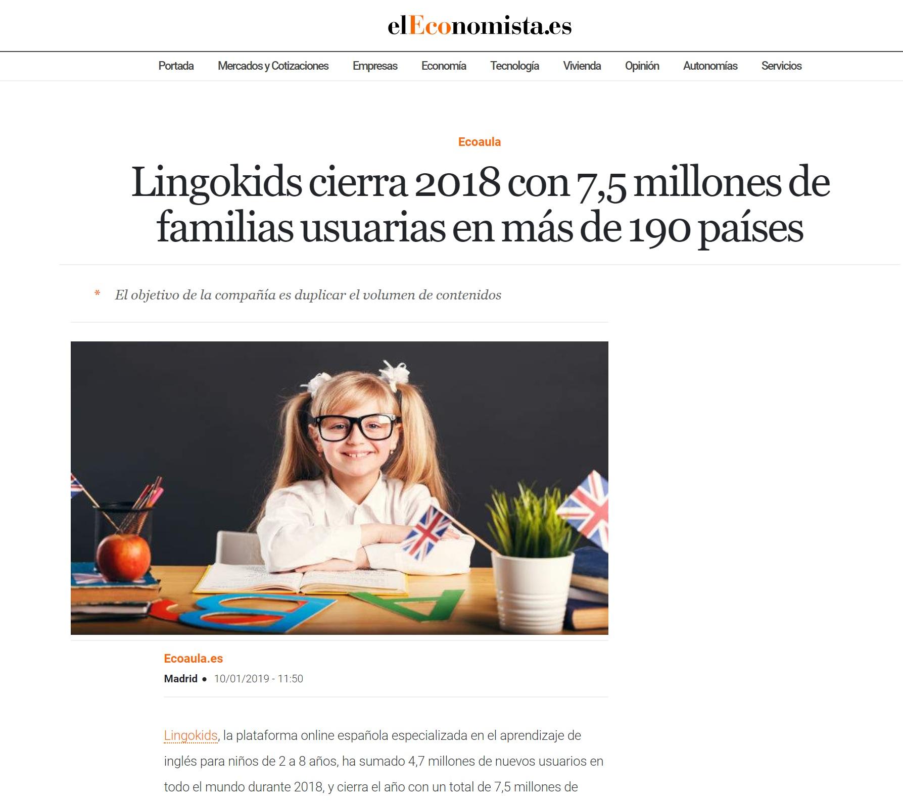 Noticia evolución y crecimiento de Lingokids y colaboración Nemomarlin Escuelas Infantiles
