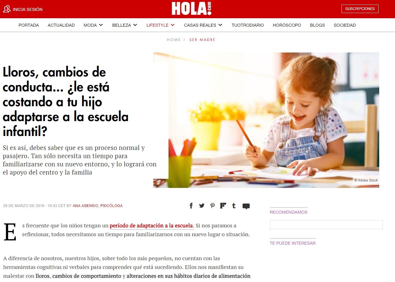 Noticia Nemomarlin - adaptación niño escuela infantil