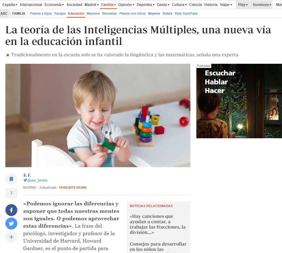 Noticia Nemomarlin escuelas infantiles en abc, teoría inteligencias múltiples