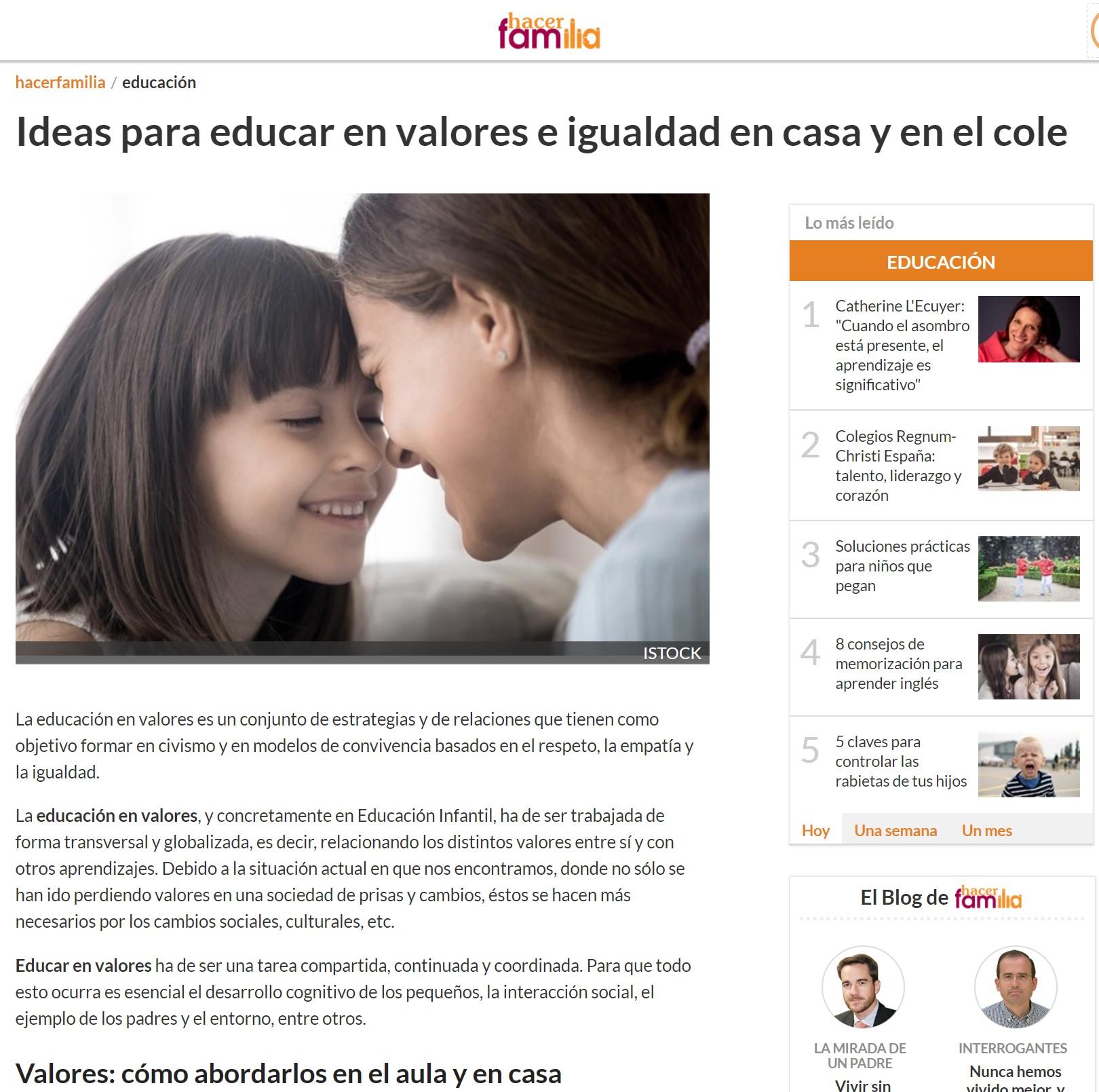 Escuelas Infantiles Nemomarlin_Idea para educar en valores e igualdad