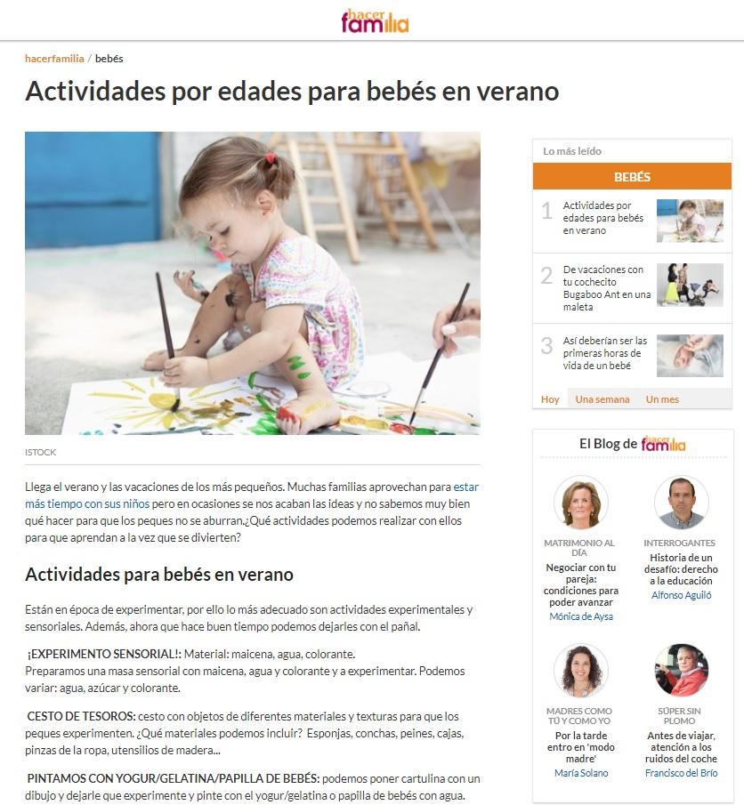 Actividades bebes en verano - artículo Escuela Infantil Nemomarlin Rivas