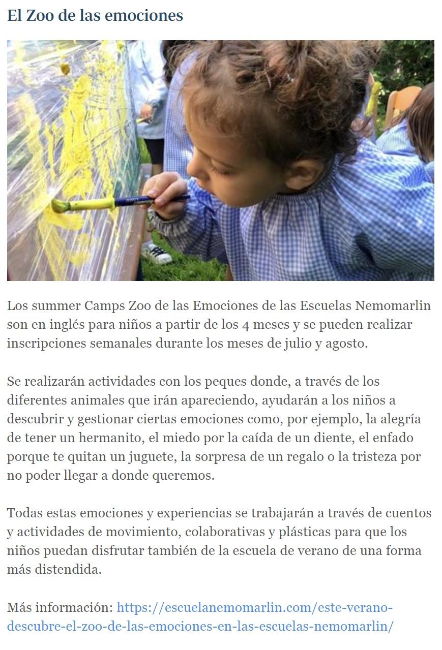 Zoo de las emociones en escuelas Nemomarlin