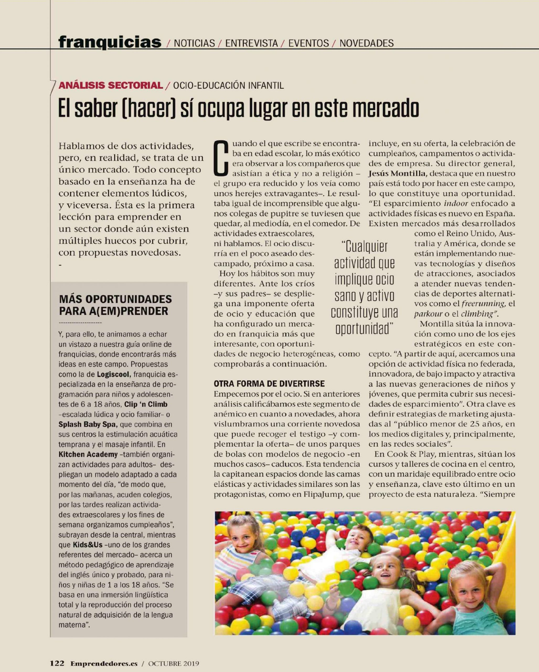 Noticia revista emprendedores sobre analisis sector educación