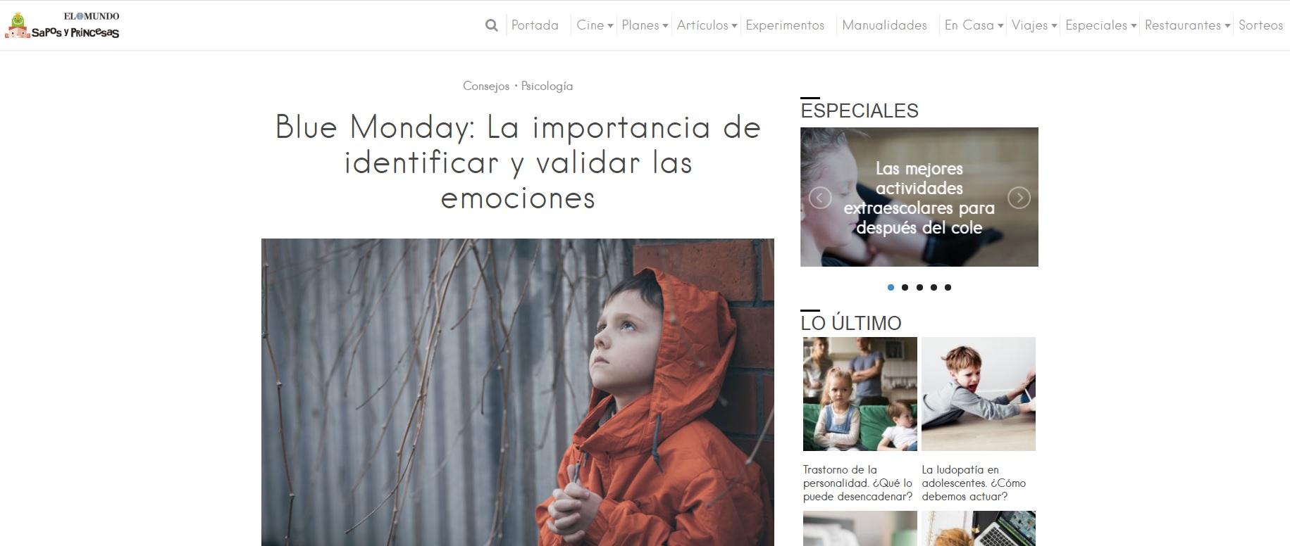 artículo prensa blue monday sapos y princesas escuela infantil nemomarlin