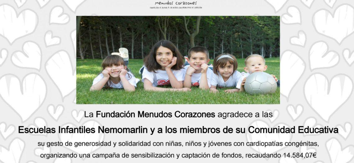 Fundación Menudos Corazones agradece el gran éxito en la campaña de recaudación de fondos, de las escuelas Nemomarlin