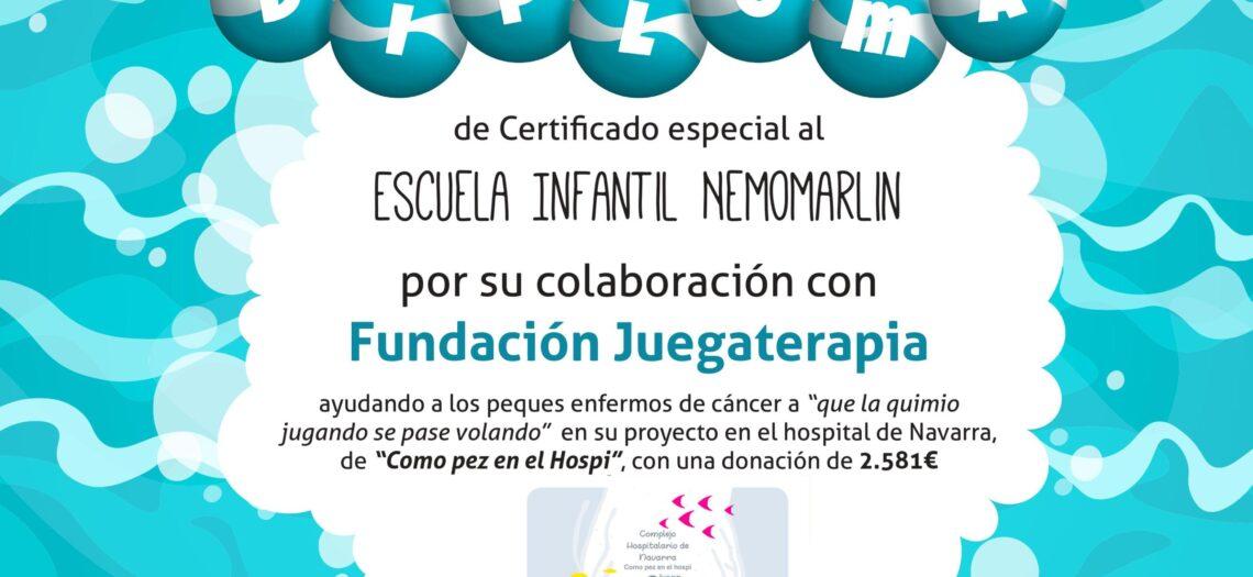 Diploma racaudación agendas solidarias para fundación Juegaterapia