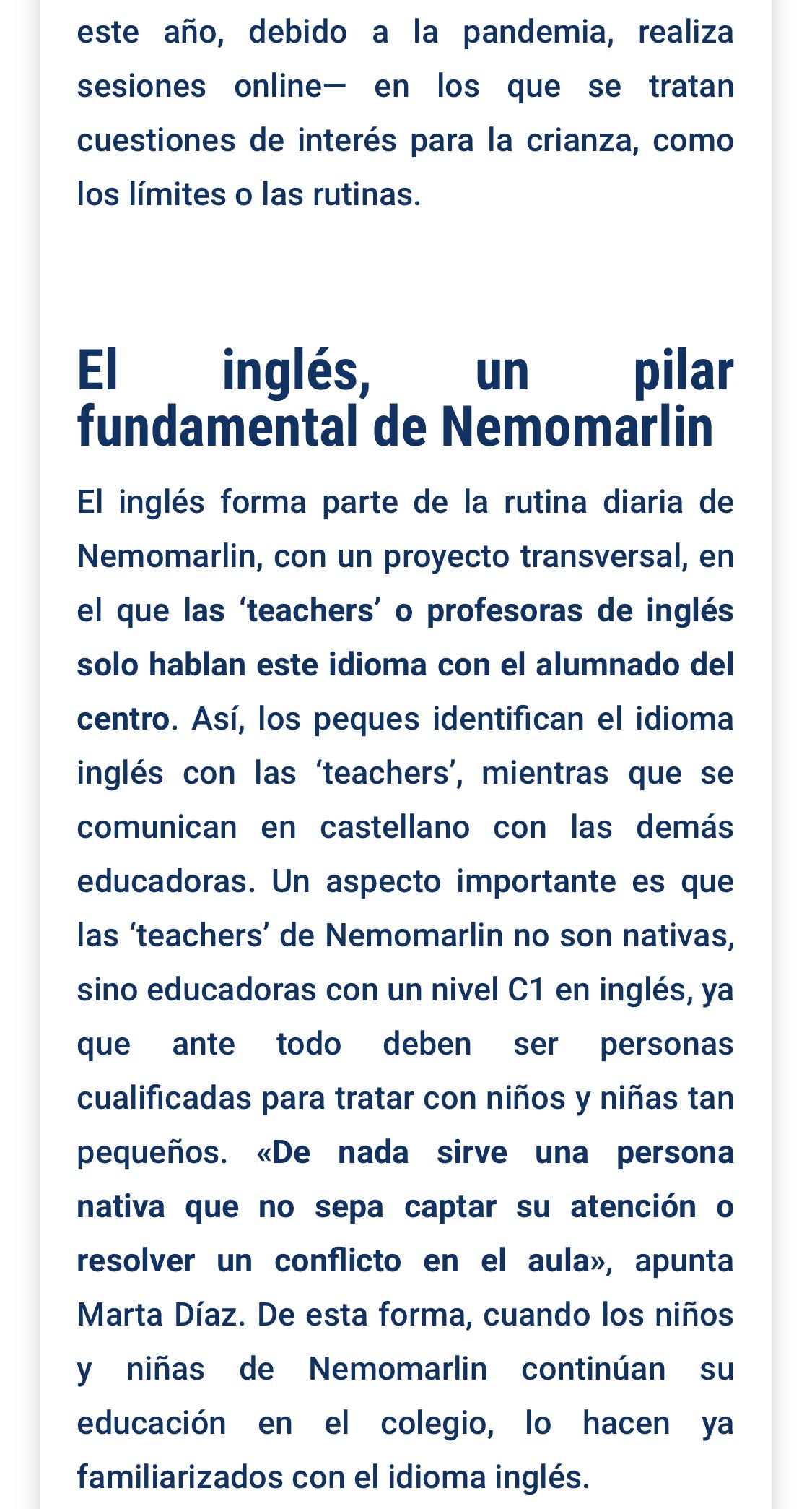 Reportaje Escuela Infantil Nemomarlin Rivas Almendros